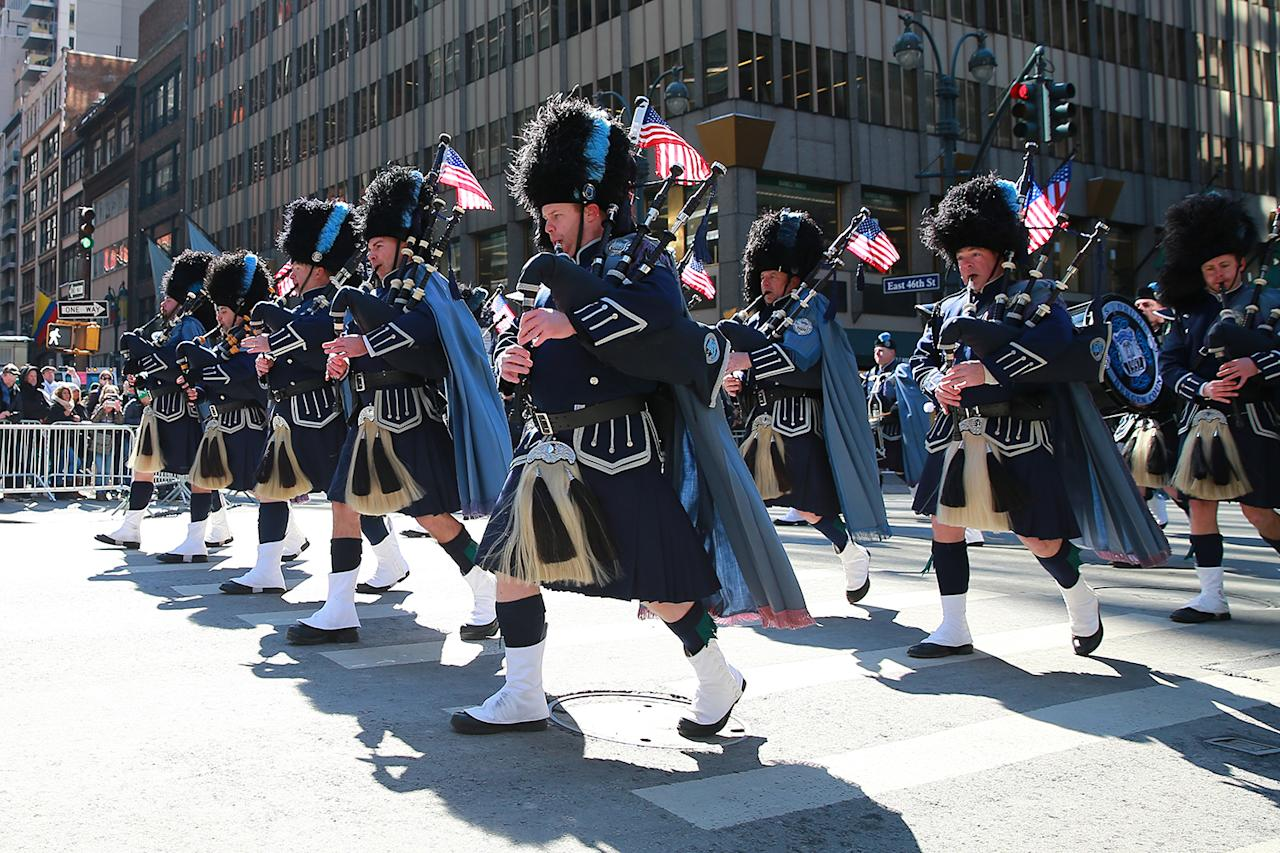<p>The Bergen County Police Pipes and Drums march in the St. Patrick's Day Parade on March 17, 2017, in New York. (Gordon Donovan/Yahoo News) </p>