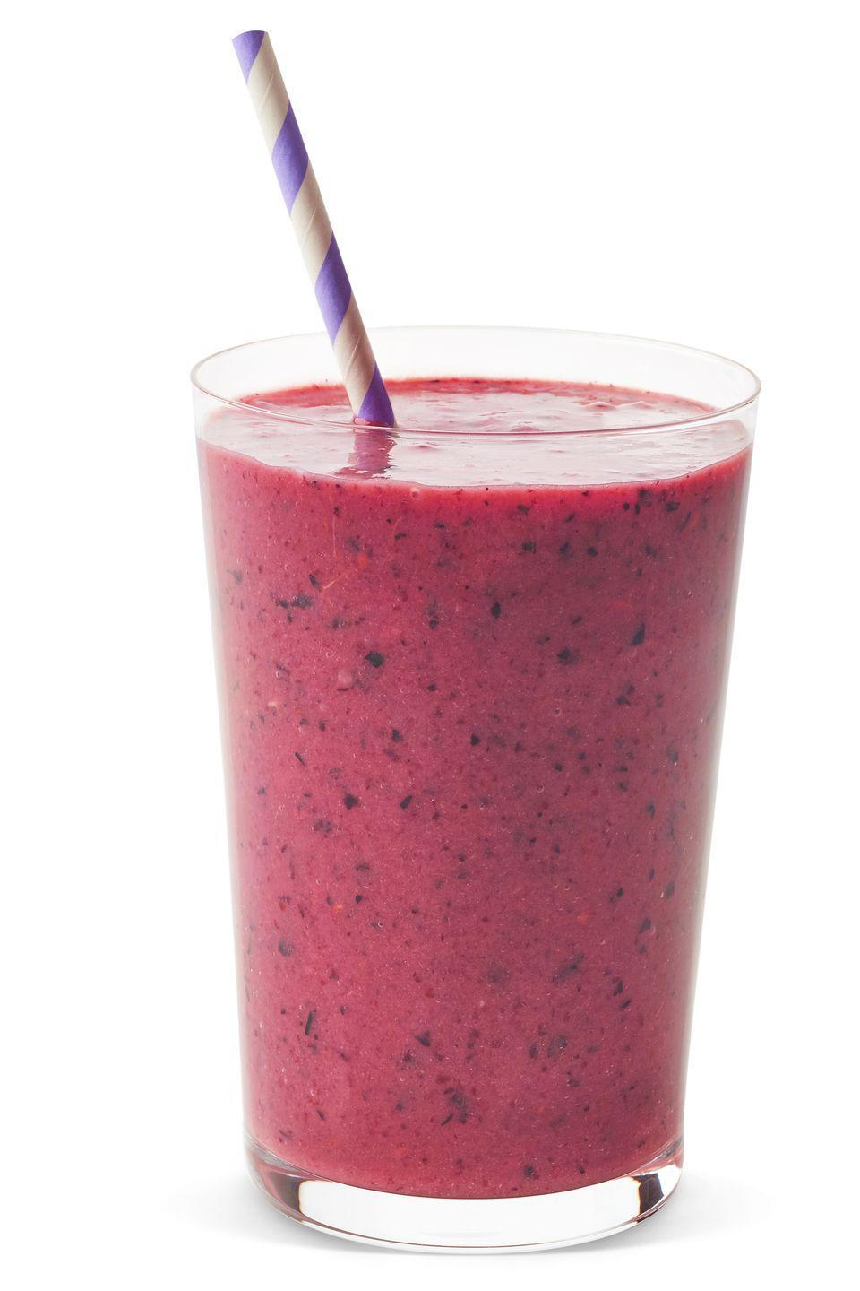 "<p>Joy Bauer, R.D.N and nutrition expert for Woman's Day, can't get enough of this smoothie. ""I'm not sure which I love most: the delicious flavor, the super load of antioxidants, or the stunning color."" The recipe makes two, so enjoy both yourself or share one with a loved one. </p><p><strong>Ingredients</strong>: 1/2 cup almond milk, 1/2 cup plain low-fat yogurt, 1 tsp honey, 1 cup mixed frozen berries, 1 cup freshly cooked beets, 3 to 5 ice cubes. </p>"
