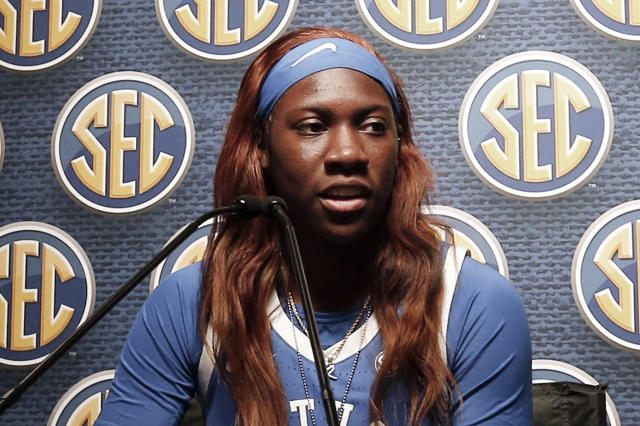 FILE - In this Oct. 17, 2019, file photo, Kentucky's Rhyne Howard speaks during the Southeastern Conference NCAA college basketball media day in Birmingham, Ala. Howard was selected to The Associated Press women's All-America first team, Thursday, March 19, 2020. (AP Photo/Butch Dill, File)