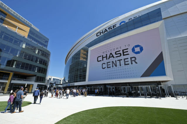 The Warriors officially unveiled the Chase Center on Monday in San Francisco. (AP/Eric Risberg)