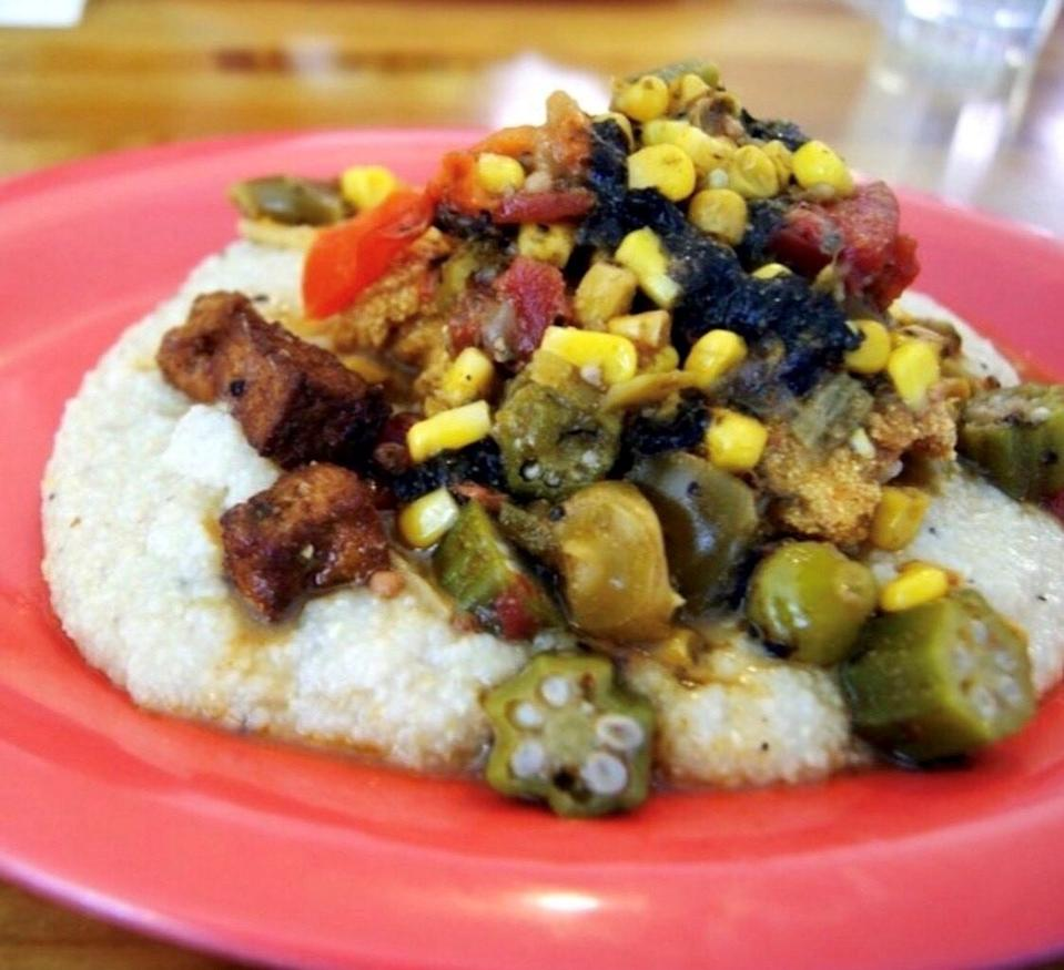 The Southern Staple Bowl includes buttered grits, crispy tofu and okra gumbo.