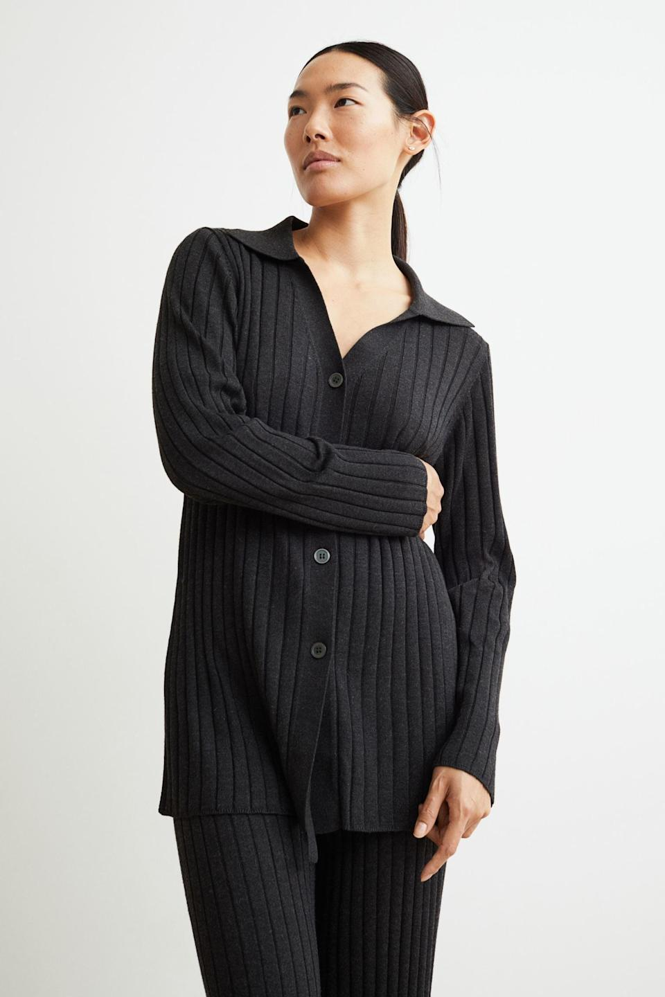 <p>This <span>Collared Ribbed Cardigan</span> ($30, originally $35) has an understated elegance accentuated by the refined silhouette. It's a guaranteed crowd pleaser and a piece you'll turn to season after season. Complete the look with the matching <span>Rib-knit Pants</span> ($29).</p>