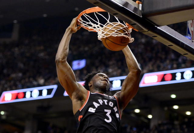 Toronto Raptors forward OG Anunoby dunks against the Washington Wizards during the first half of an NBA basketball game Friday, Dec. 20, 2019, in Toronto. (Frank Gunn/The Canadian Press via AP)