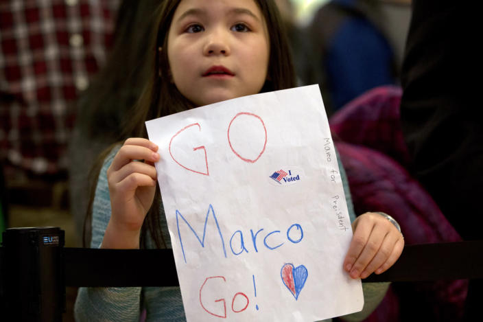 <p>Jaden Walls, 8, of Manchester, N.H., holds a sign in support of Republican presidential candidate Sen. Marco Rubio of Florida at the candidate's primary-night rally at the Radisson Hotel in Manchester, N.H., on Feb. 9, 2016. (Jacquelyn Martin/AP)</p>