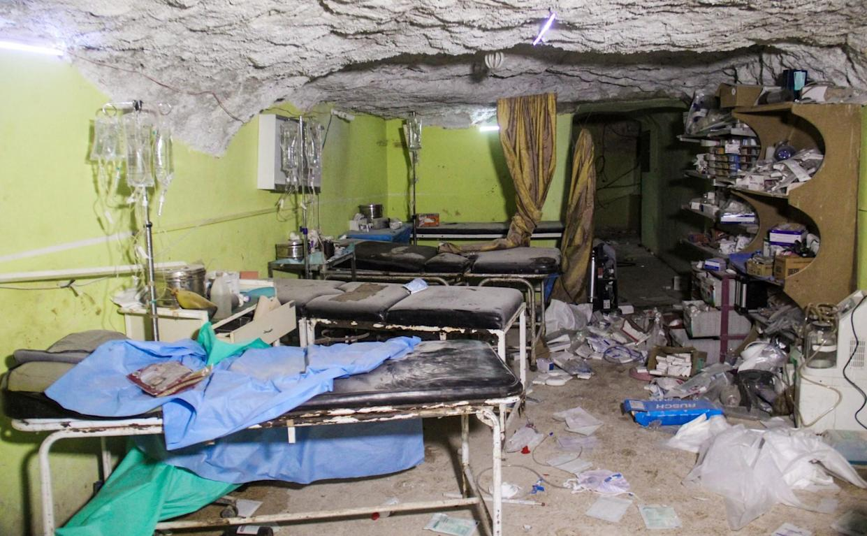 Destruction at a hospital room in Khan Shaykhun, a Syrian rebel-held town, following a suspected toxic gas attack. (Photo: Omar Haj Kadour/AFP/Getty Images)