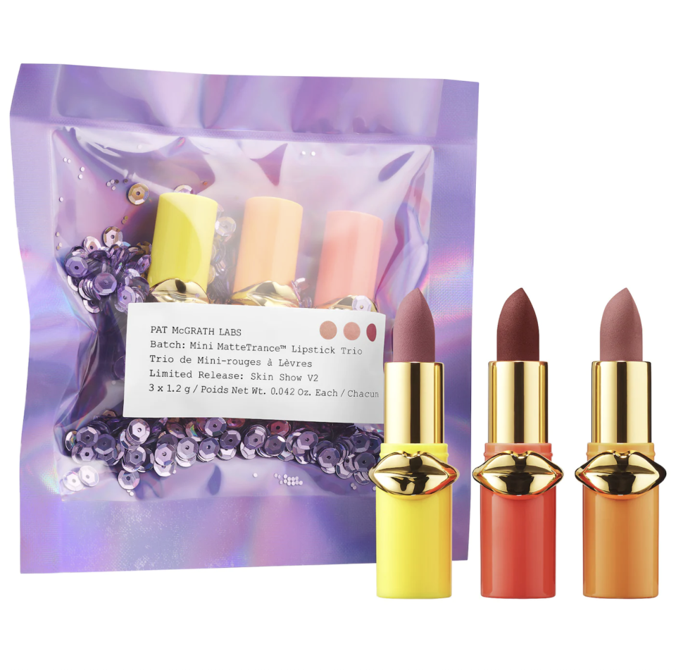 """<p><strong>PAT McGRATH LABS</strong></p><p>sephora.com</p><p><strong>$25.00</strong></p><p><a href=""""https://go.redirectingat.com?id=74968X1596630&url=https%3A%2F%2Fwww.sephora.com%2Fproduct%2Flust-mini-mattetrance-lipstick-skin-show-trio-P434529&sref=https%3A%2F%2Fwww.seventeen.com%2Flife%2Ffriends-family%2Fg30140775%2Fgifts-for-mom-from-daughter%2F"""" rel=""""nofollow noopener"""" target=""""_blank"""" data-ylk=""""slk:Shop Now"""" class=""""link rapid-noclick-resp"""">Shop Now</a></p><p>With all those Zoom parties coming up, your mom is going to get good use out of these matte lippies, trust me.</p>"""
