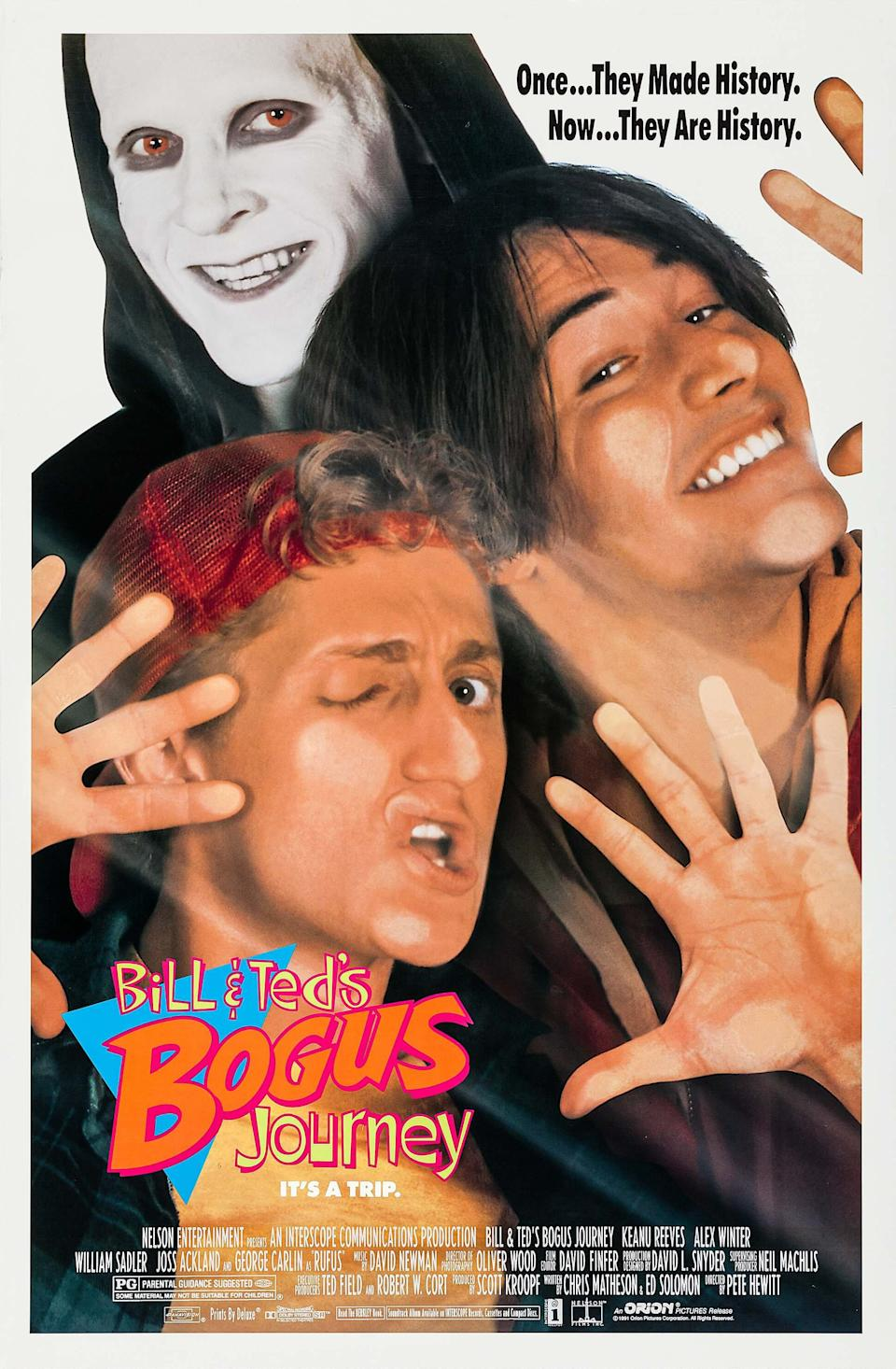 The poster for 1991's <i>Bill & Ted's Bogus Journey</i> (Orion)