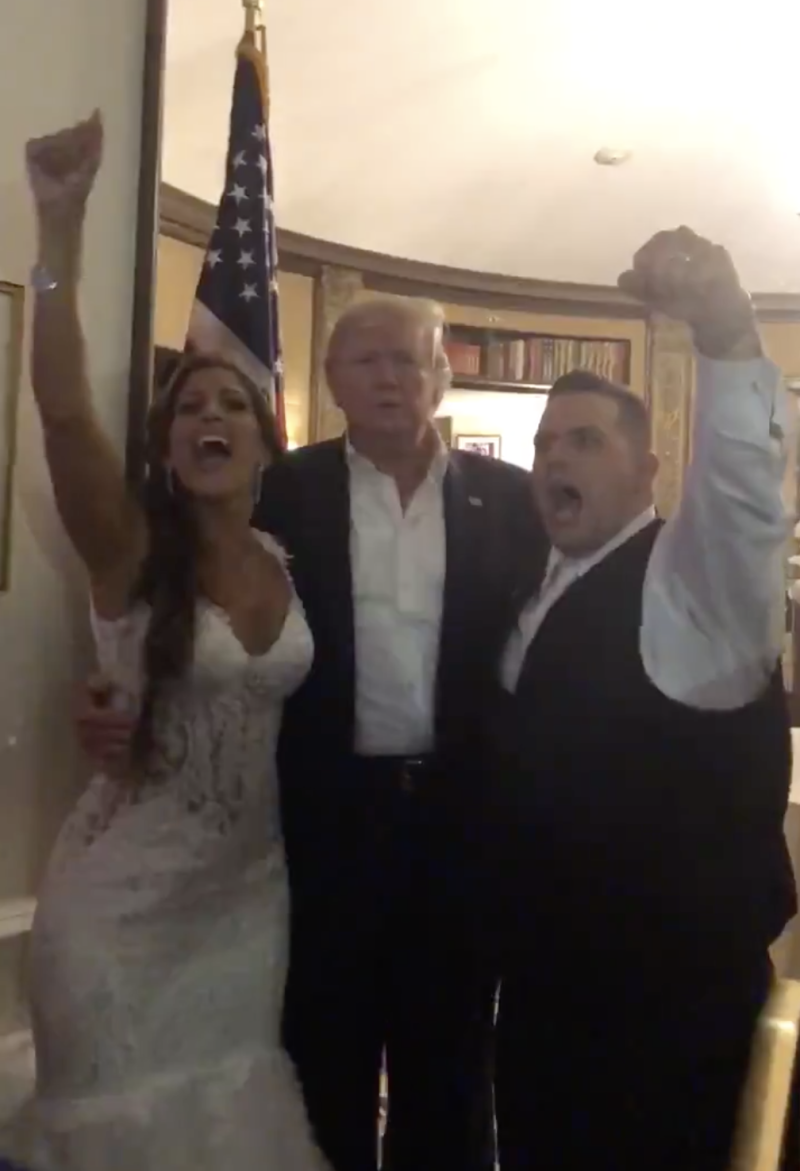 Nicole and PJ Mongelli got the surprise of a lifetime when President Donald Trump showed up to their MAGA-themed wedding. (Photo: Twitter)