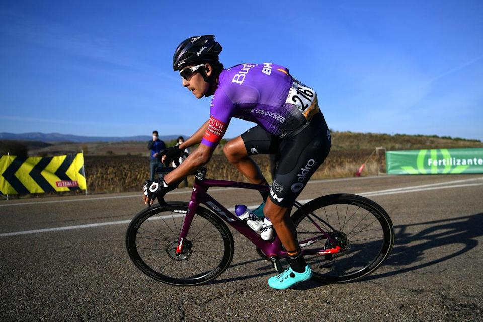 AGUILAR DE CAMPOO SPAIN  OCTOBER 29 Juan Felipe Osorio Arboleda of Colombia and Team Burgos  BH  Breakaway  during the 75th Tour of Spain 2020 Stage 9 a 1577km stage from Cid Campeador Military Base Castrillo del Val to Aguilar de Campoo  lavuelta  LaVuelta20  on October 29 2020 in Aguilar de Campoo Spain Photo by Justin SetterfieldGetty Images