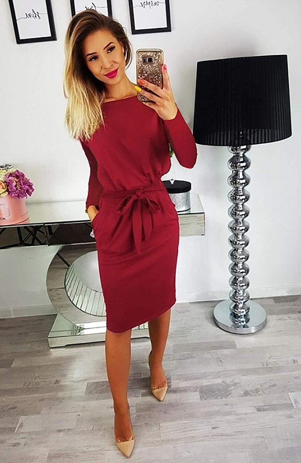 """<p>We love this <a href=""""https://www.popsugar.com/buy/PrettyGarden-Belted-Dress-Pockets-512875?p_name=PrettyGarden%20Belted%20Dress%20With%20Pockets&retailer=amazon.com&pid=512875&price=21&evar1=fab%3Aus&evar9=46859993&evar98=https%3A%2F%2Fwww.popsugar.com%2Ffashion%2Fphoto-gallery%2F46859993%2Fimage%2F46860954%2FPrettyGarden-Belted-Dress-With-Pockets&list1=shopping%2Camazon%2Choliday%2Cwinter%20fashion%2Choliday%20fashion%2C50%20under%20%2450%2Cgifts%20for%20women%2Caffordable%20shopping&prop13=mobile&pdata=1"""" rel=""""nofollow noopener"""" class=""""link rapid-noclick-resp"""" target=""""_blank"""" data-ylk=""""slk:PrettyGarden Belted Dress With Pockets"""">PrettyGarden Belted Dress With Pockets</a> ($21) for any occasion.</p>"""