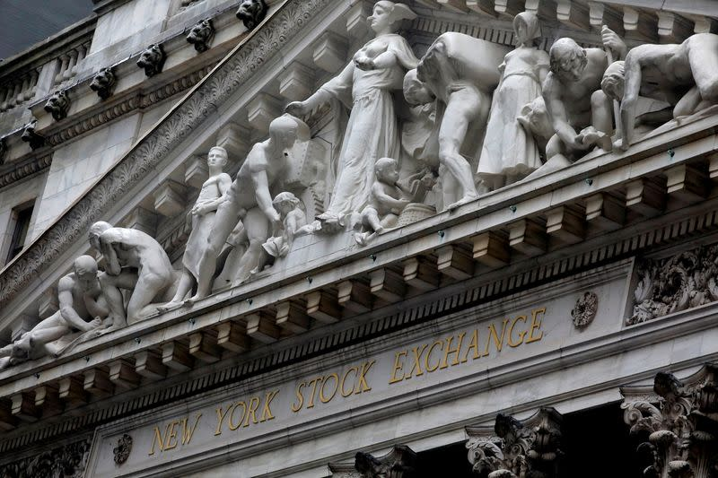 The facade of the New York Stock Exchange is pictured in New York