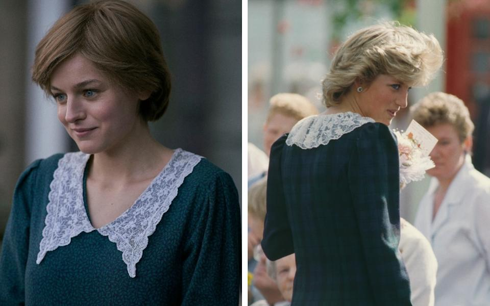 Emma Corrin wears a dress with a statement lace collar, similar to those loved by Diana