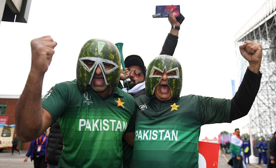 Pakistan fans arrive before India v Pakistan at Old Trafford (Photo by Gareth Copley-IDI/IDI via Getty Images)