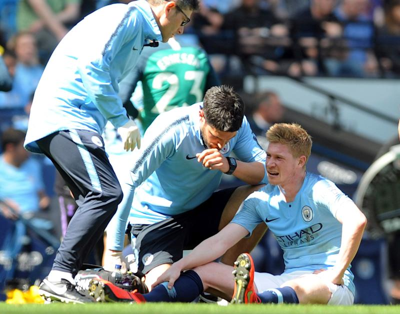 Manchester City's Kevin De Bruyne receives treatment during the English Premier League soccer match between Manchester City and Tottenham Hotspur at Etihad stadium in Manchester, England, Saturday, April 20, 2019. (AP Photo/Rui Vieira)