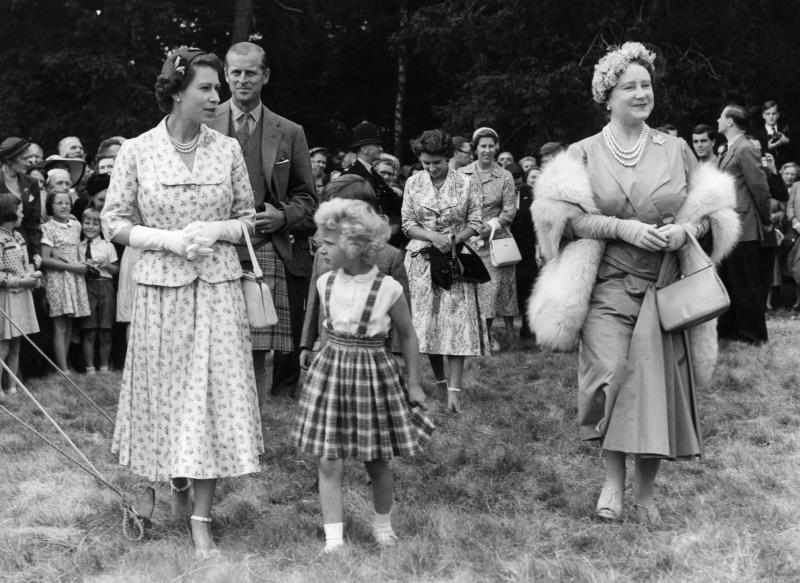 A five-year-old Princess Anne with her mother and grandmother in 1955 (Getty Images)
