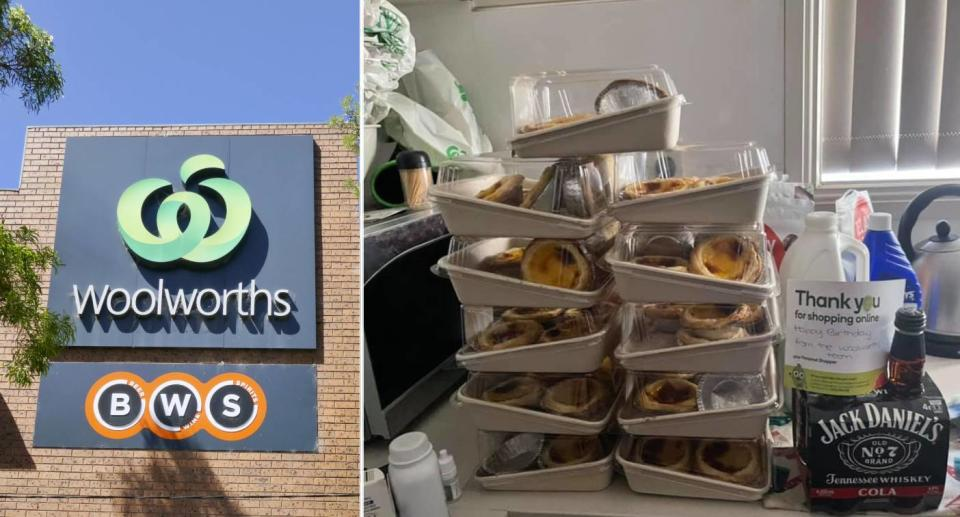 Woolworths and BWS logo (left) and 11 packs of tarts and a 4 pack of Jack Daniels (right). Source: Getty Images (left), Facebook (right)