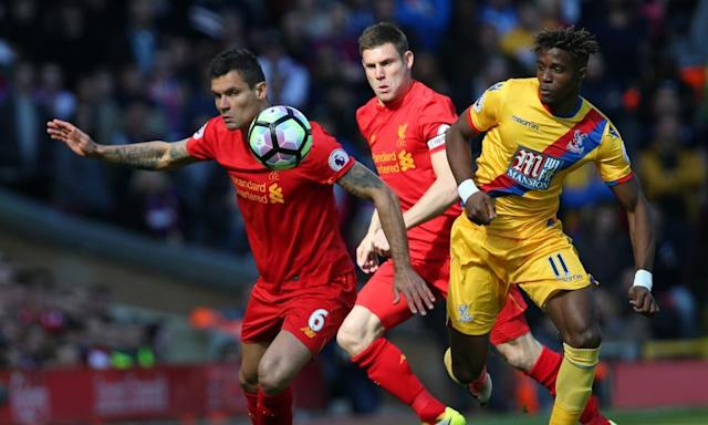 "<span class=""element-image__caption"">Jürgen Klopp says that the best is yet to come from Dejan Lovren, left, but he wants to sign another centre-back for Liverpool over summer.</span> <span class=""element-image__credit"">Photograph: David Blunsden/Action Plus via Getty Images</span>"