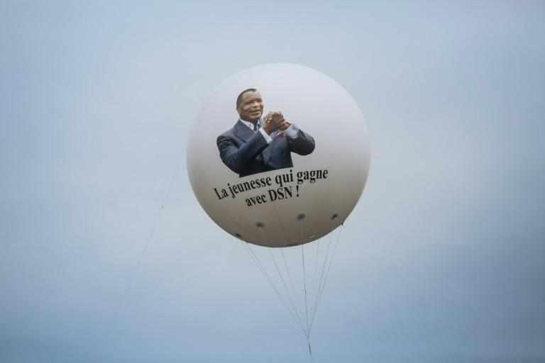 A balloon bearing the picture of Sassou-Nguesso is seen during his last campaign rally in Brazzaville