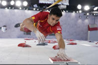 Alberto Gines Lopez, of Spain, competes during the speed portion of the men's sport climbing final at the 2020 Summer Olympics, Thursday, Aug. 5, 2021, in Tokyo, Japan. (Tsuyoshi Ueda/Pool Photo via AP)