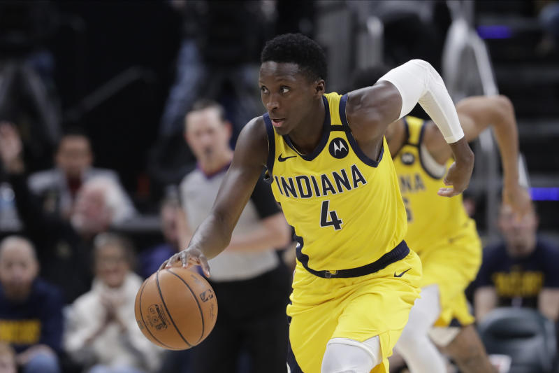 Indiana Pacers' Victor Oladipo (4) dribbles during the second half of an NBA basketball game against the Toronto Raptors, Friday, Feb. 7, 2020, in Indianapolis. Toronto won 115-106. (AP Photo/Darron Cummings)