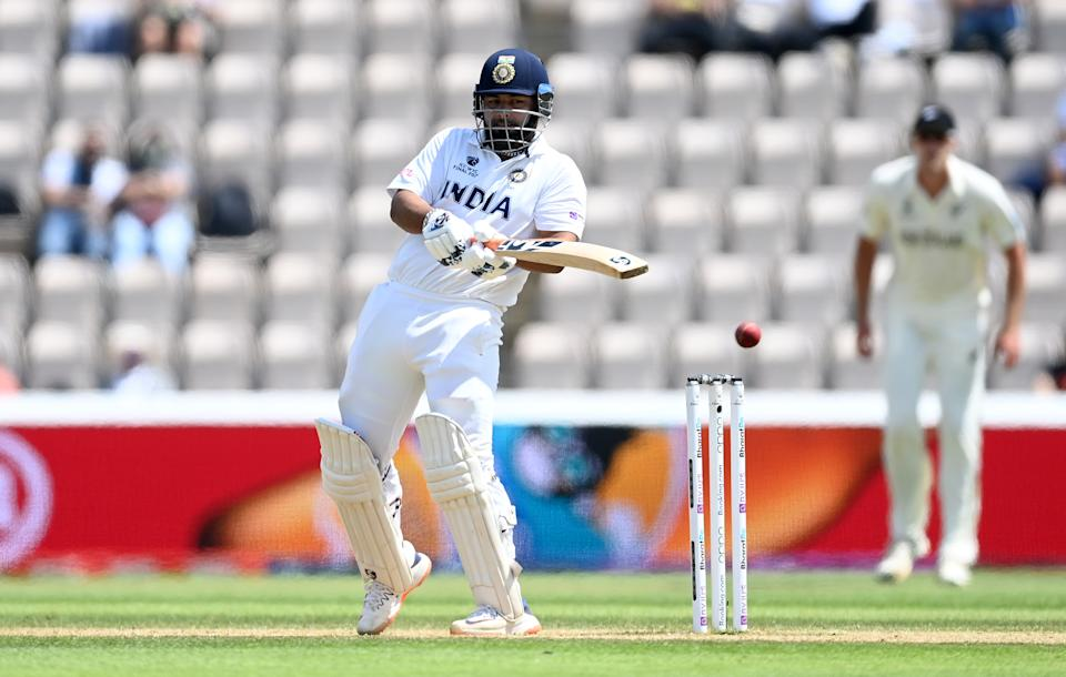 SOUTHAMPTON, ENGLAND - JUNE 23: Rishabh Pant of India bats during Day 6 of the ICC World Test Championship Final between India and New Zealand at The Ageas Bowl on June 23, 2021 in Southampton, England. (Photo by Gareth Copley-ICC/ICC via Getty Images)