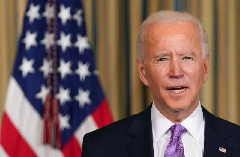 Biden speaks about racial equity at the White House in Washington