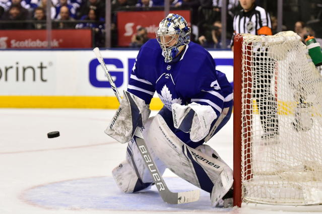Toronto Maple Leafs goaltender Frederik Andersen (31) makes a save off a shot from Boston Bruins during the first period of game six of an NHL round one playoff hockey game in Toronto on Monday, April 23, 2018. (Frank Gunn/The Canadian Press via AP)