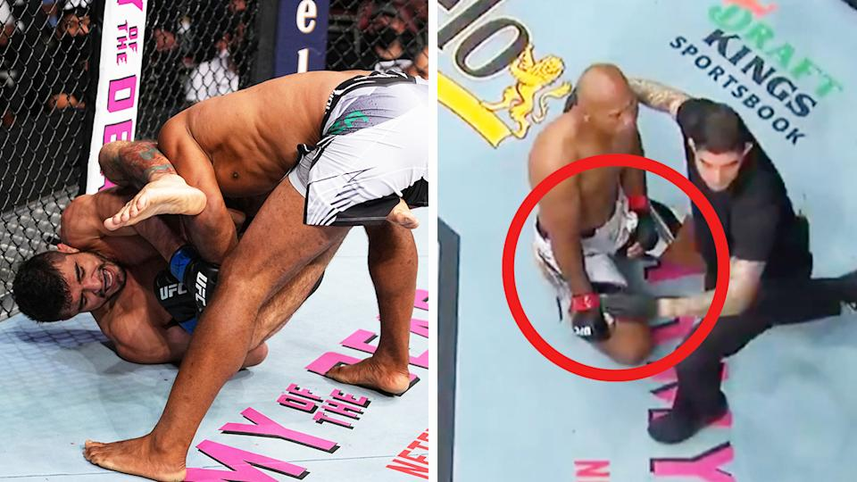 Jacare Souza (pictured right) with the referee after his arm was snapped (pictured left) by Andre Muniz.