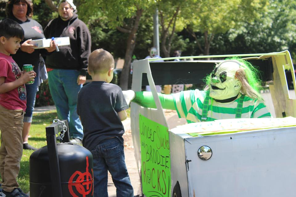 Brodie was treated to a car parade celebrating his clean bill of health. (Photo: Ranch of Horror)
