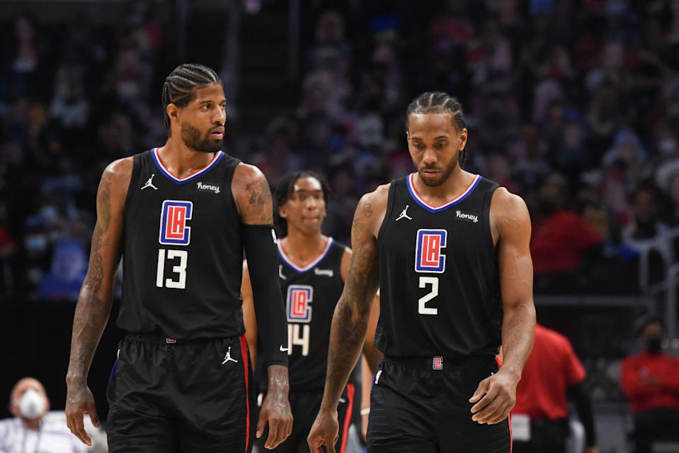 Kawhi Leonard, Paul George and the Clippers are looking like contenders again after climbing out of an 0-2 hole versus the Mavs.  (Getty)