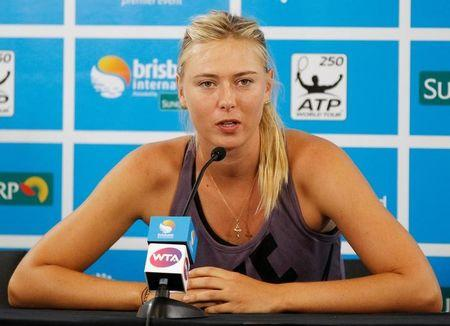 Sharapova of Russia speaks during a news conference at the Brisbane International tennis tournament