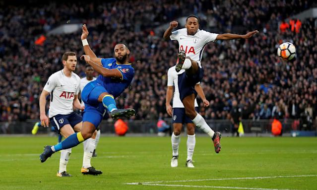 Soccer Football - FA Cup Third Round - Tottenham Hotspur vs AFC Wimbledon - Wembley Stadium, London, Britain - January 7, 2018 Wimbledon's Liam Trotter shoots at goal Action Images via Reuters/Matthew Childs TPX IMAGES OF THE DAY
