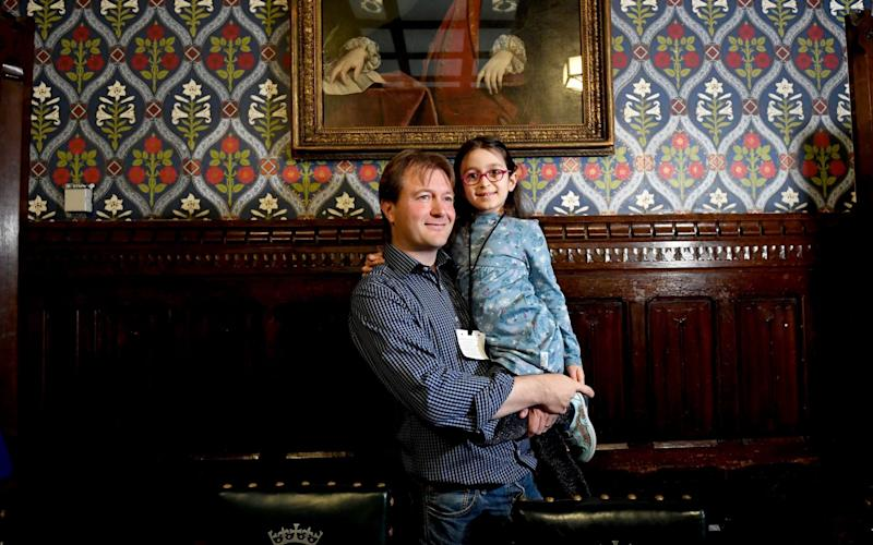 Richard Ratcliffe, here with his daughter Gabriella, has been campaigning to get his wife Nazanin Zaghari-Ratcliffe out of jail - PA