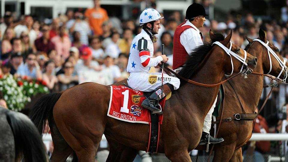 June 7, 2008; Elmont, NY, USA; Kent Desormeaux sits aboard Big Brown (1) after finishing in 9th place in the 140th Belmont Stakes at Belmont Park. Kent Desormeaux eased up on Big Brown (1) on the final stretch.