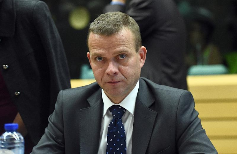 """Finland's Interior Minister Petteri Orpo, pictured on September 22, 2015, said in an interview with YLE, """"there are extremist features to carrying out street patrols"""" (AFP Photo/Emmanuel Dunand)"""