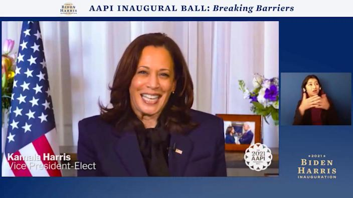 In this screengrab, Vice President-Elect Kamala Harris speaks during the AAPI Inaugural Ball hosted by the Biden Inaugural Committee on Jan. 19, 2021.The virtual event celebrated contributions by the nation's Asian Americans and Pacific Islanders. Some in the community hope that Harris' South Asian background will help raise its profile in the absence of an Asian American/Pacific Islander Cabinet secretary.