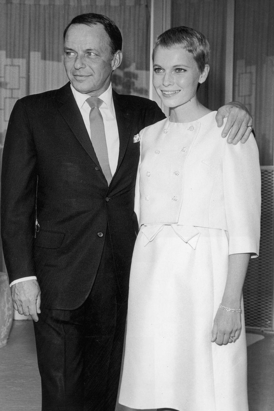 <p>On top of being a trendsetter with her iconic pixie cut, Mia Farrow totally ignored conventions when she wore a short, structured white skirt suit for her wedding to Frank Sinatra in 1966. The marriage itself was seen as scandalous, given the age difference between the pair: Farrow was just 21 at the time, while Sinatra was 50 years old.</p>