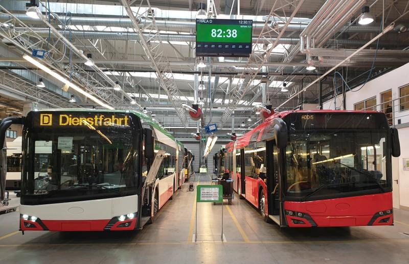 Buses pictured on the assembly line at the Solaris Bus & Coach plant in Bolechowo near Poznan, Poland