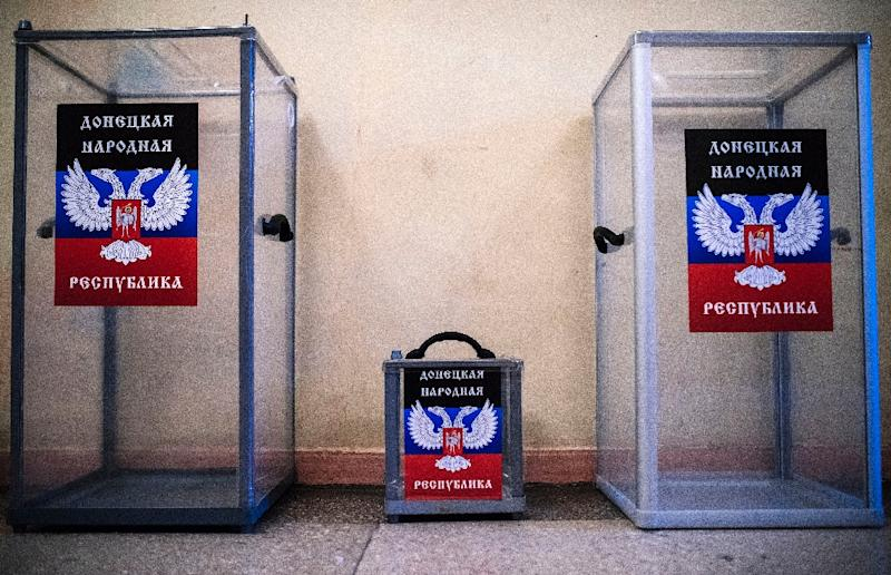 Ballot boxes are stored at a polling station in the eastern Ukrainian city of Donetsk (AFP Photo/Dimitar Dilkoff)