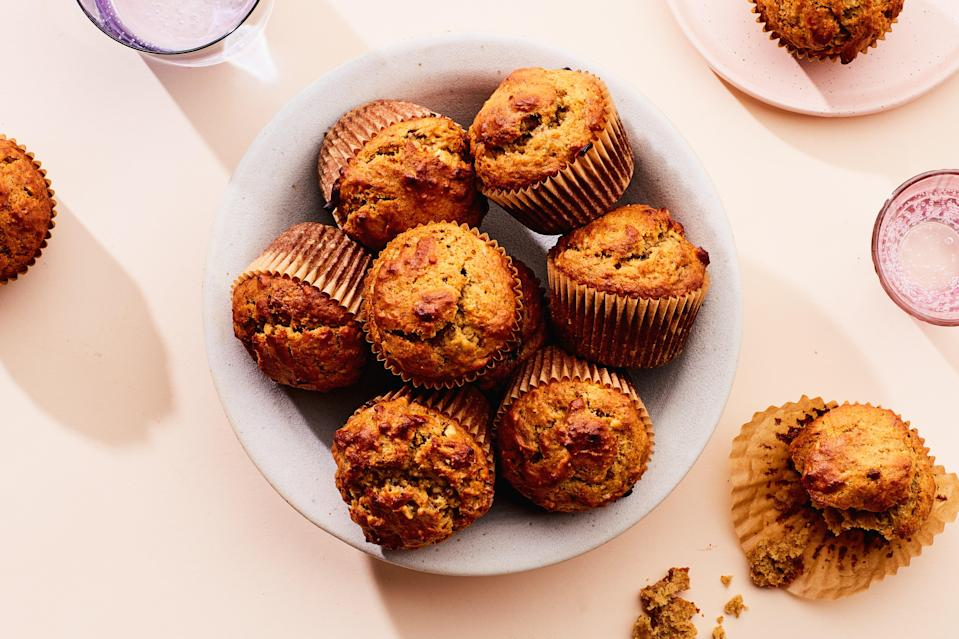 """Wheat germ lends a good dose of vitamins to these delicious, kid-friendly muffins, while boosting the nutty flavor. <a href=""""https://www.epicurious.com/recipes/food/views/peanut-butter-banana-muffins-5456?mbid=synd_yahoo_rss"""" rel=""""nofollow noopener"""" target=""""_blank"""" data-ylk=""""slk:See recipe."""" class=""""link rapid-noclick-resp"""">See recipe.</a>"""