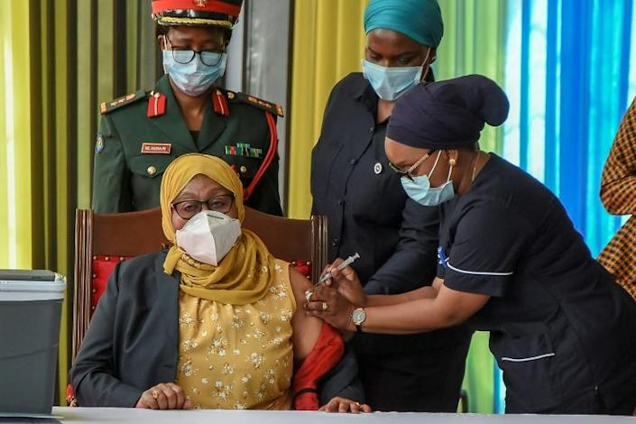 Hassan received a Covid jab live on television as she launched a mass vaccination drive for Tanzania's 58 million-strong population