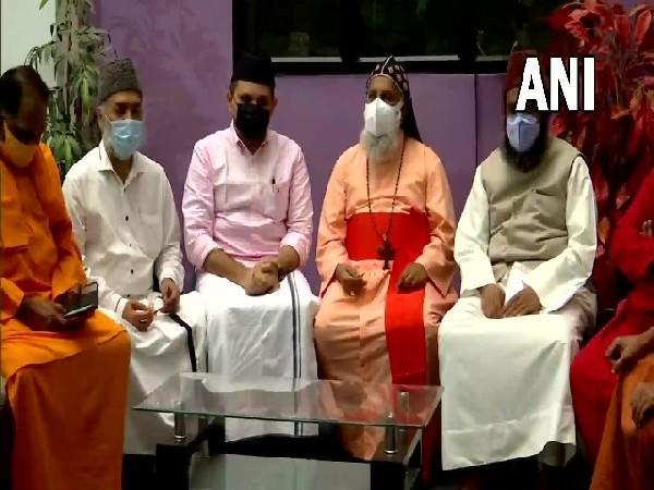 Religious leaders from Christian, Muslim, and Hindu communities hold a meeting in Thiruvananthapuram on Monday. [Photo/ANI]