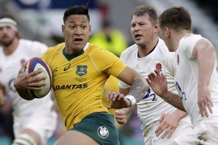 FILE PHOTO: Britain Rugby Union - England v Australia - 2016 Old Mutual Wealth Series - Twickenham Stadium, London, England - 3/12/16 Australia's Israel Folau in action Action Images via Reuters / Henry Browne Livepic EDITORIAL USE ONLY.