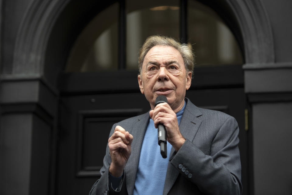 Lord Andrew Lloyd Webber speaks during the unveiling of the Wall of Fame, a new art installation at the London Palladium in London.