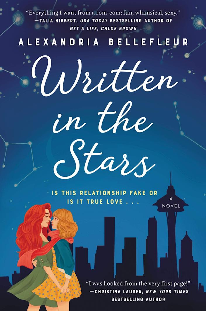 <p>There are many, many <strong>Pride and Prejudice</strong> retellings out there, but <span><strong>Written in the Stars</strong></span> by Alexandria Bellefleur might just be the best. Darcy Lowell wants nothing more than to convince her brother to stop setting her up on blind dates, so she tells him that his most recent setup was a success. That's news to true romantic and astrologer Elle Jones, who is pretty sure their date was the very definition of awkward. Luckily for Darcy, Elle is willing to go along with the ruse - as long as Darcy is willing to pose as her girlfriend long enough to help her navigate her family's many holiday events.</p> <p><em>Out Nov. 10</em></p>