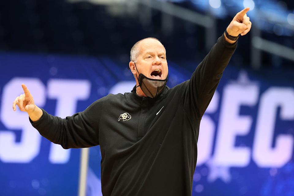 INDIANAPOLIS, INDIANA - MARCH 20: Head coach Tad Boyle of the Colorado Buffaloes calls to his team in the first round game against the Colorado Buffaloes in the 2021 NCAA Men's Basketball Tournament at Hinkle Fieldhouse on March 20, 2021 in Indianapolis, Indiana. (Photo by Andy Lyons/Getty Images)