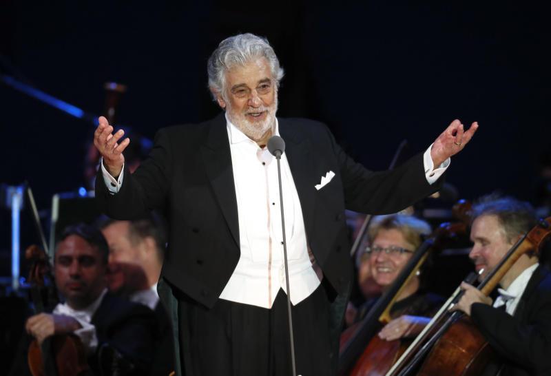 "FILE - In this Aug. 28, 2019 file photo, opera star Placido Domingo salutes spectators at the end of a concert in Szeged, Hungary. The cancellation Tuesday, Sept. 24, 2019, of Domingo's Metropolitan Opera performance in ""Macbeth"" means the singer, who has been accused by multiple women of sexual misconduct, has only a few U.S. shows scheduled, all set for California in 2020. Domingo has said he strongly disputes the allegations made against him. (AP Photo/Laszlo Balogh, File)"