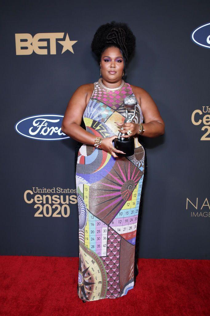 "<p>Lizzo won ""entertainer of the year"" at the 51st NAACP Image Awards in a custom Mary Katrantzou dress. </p>"