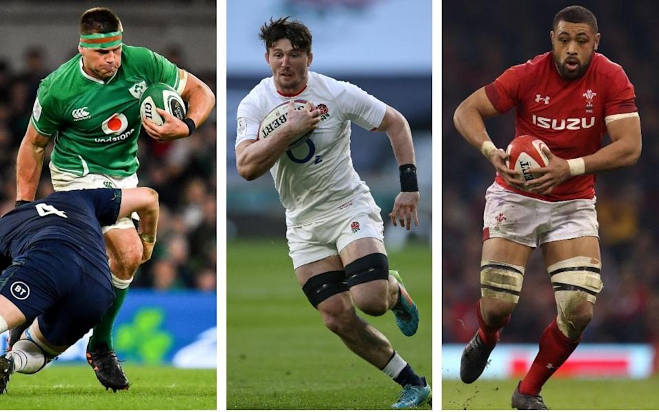 CJ Stander, Tom Curry and Taulupe Faletau carry the ball in a composite image - Telegraph Sport's Lions squad day four: Back row – do you agree with our writers' selections? - Getty Images/PA