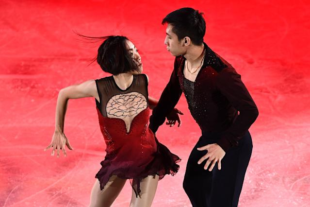 <p>China's Sui Wenjing and China's Han Cong perform during the figure skating gala event during the Pyeongchang 2018 Winter Olympic Games at the Gangneung Oval in Gangneung on February 25, 2018. / AFP PHOTO / ARIS MESSINIS (Photo credit should read ARIS MESSINIS/AFP/Getty Images) </p>